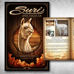 Cover design and inner catalog layout for the Suri Spectacular alpaca showcase. For the layout, Adobe InDesign was used and the catalog exceeded 70 pages.