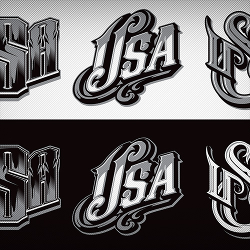 USA typography design elements for use in t-shirt designs.