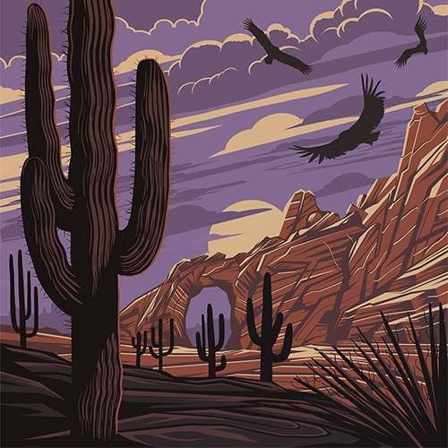 Vintage looking vector landscape, created with Adobe Illustrator and Photoshop.